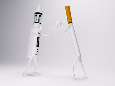 e cigarette: Vaping battery mod fighting with cigarette 3d realistic render Stock Photo