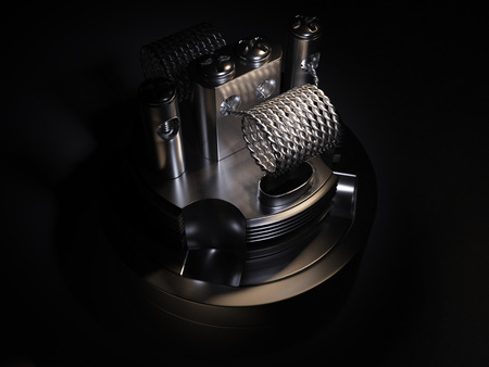 atomizer: Vaping atomizer with twist coil. Black background Stock Photo