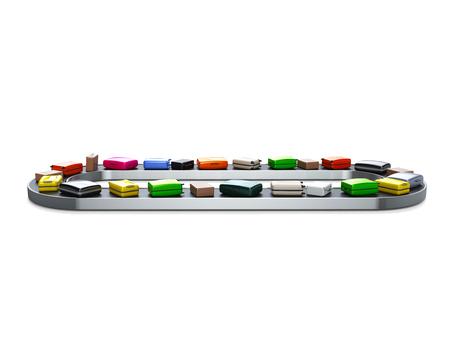 conveyor belt: Baggage claim, conveyor belt in airport. High quality render Stock Photo