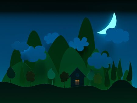 night time: Night time at village landscapes. Paper cut style. Render