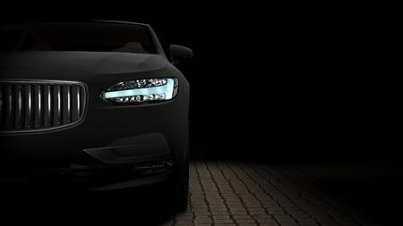 검은 슈퍼 매트 필름에 싸여 자동차입니다. 3d 렌더링