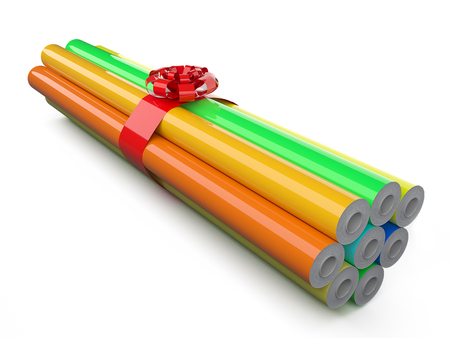 Autoverpackungsfolie Rollen in einem Geschenk verpackt. 3d render Standard-Bild - 54500171