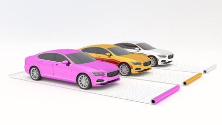Cars chrome wrapped on film rolls. 3d render Banque d'images