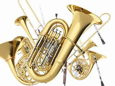 Wind musical instruments  on white. 3d render Archivio Fotografico