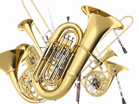 Wind muziekinstrumenten op wit. 3d render Stockfoto