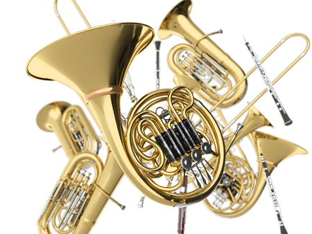 Wind musical instruments on white. 3d render