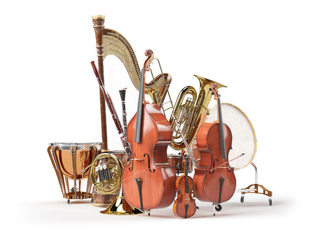 Orchestra musical instruments isolated on white. 3d render