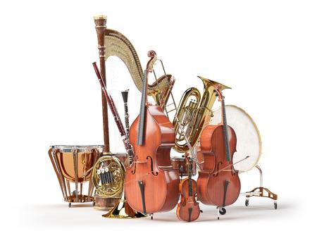 Orkiestra instrumenty muzyczne na białym. 3d render