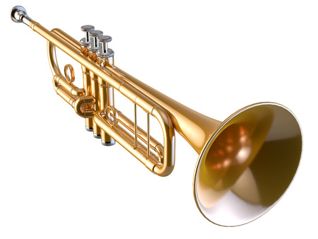 Trumpet isolated on white 3D rendering Banque d'images - 100832074
