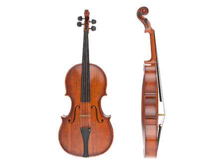 cellos: Aged violin isolated on white. High quality 3d render