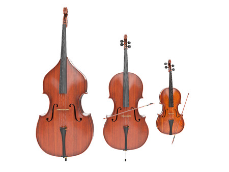Double bass, violin and cello isolated on white. 3d render