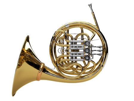 Aged french horn isolated on white background. 3d render Standard-Bild