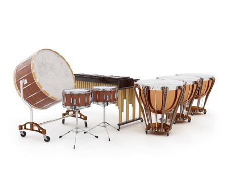 오케스트라 드럼 흰색 배경에 3D 렌더링에 고립