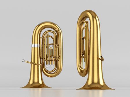 fagot: Aged tuba on white background. 3D rendering Zdjęcie Seryjne