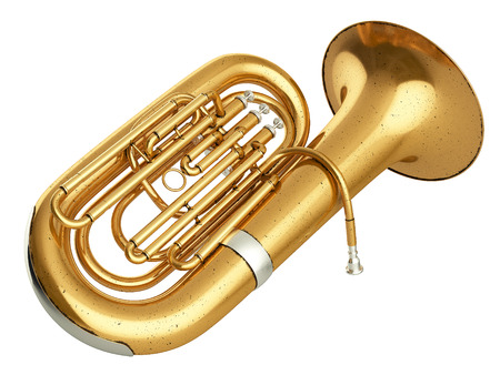 fagot: Aged tuba isolated on white background. 3D rendering