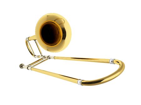 trombon: tromb�n edad aisladas sobre fondo blanco. representaci�n 3D