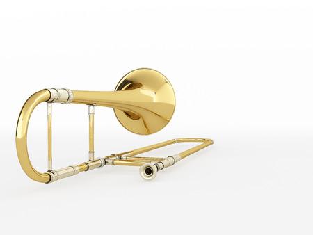 fagot: Aged trombone on white background. 3D rendering Zdjęcie Seryjne