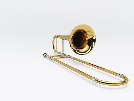flute key: Aged trombone on white background. 3D rendering Stock Photo