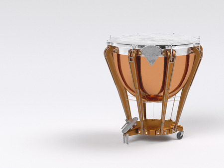 흰색 배경에 Timpani입니다. 늙은. 3D 렌더링 스톡 콘텐츠