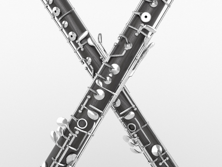 fagot: Oboe  on white background. High quality 3d render
