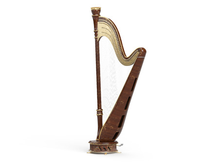 Harp aged isolated  on white background. 3d render