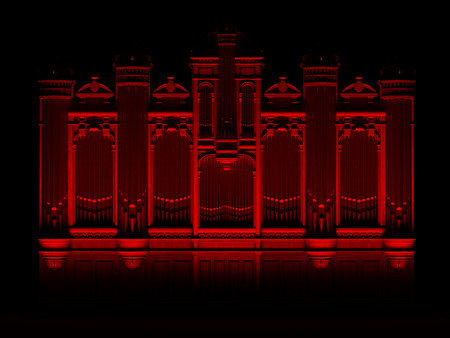 pipe organ: Pipe organ Red Black abstract concept. High quality 3D rendering