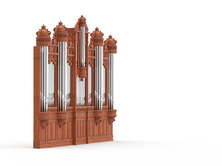 pipe organ: Pipe organ isolted on white background. High quality 3D rendering Stock Photo
