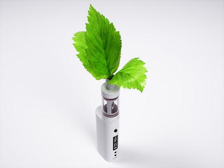 White vaping ecig battery mod 3d realistic render