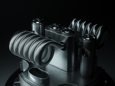 cig: Vaping atomizer with clapton coil. Black background