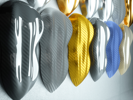 Car wrapping film sampler. High quality 3d rendering