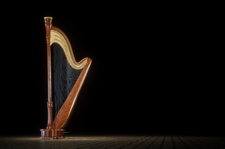 Harp aged on white background. 3d render