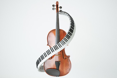 cellos: Aged violin and piaone keys concept. High quality 3d render Stock Photo