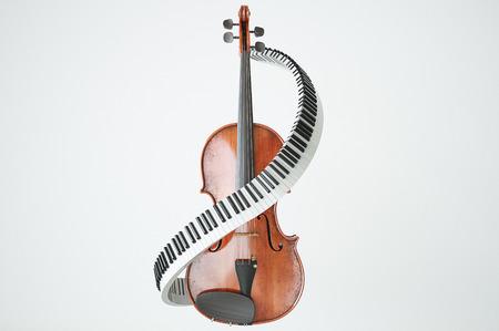 Aged violin and piaone keys concept. High quality 3d render 版權商用圖片