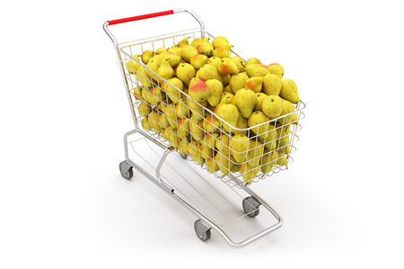 Many pears in a shopping cart on th white background