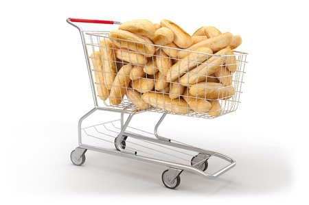 Bread in a shopping cart on th white background