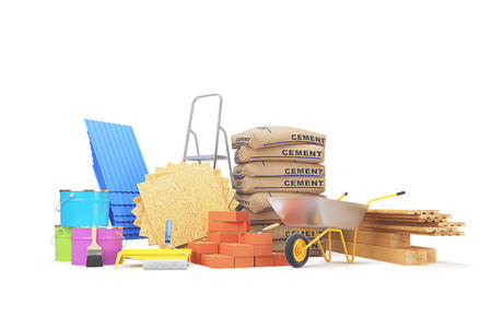 Construction materials isolated on white background. 3D rendering