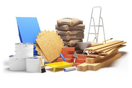 Baustoffe auf weißem Hintergrund. 3D-Rendering Standard-Bild - 62614691