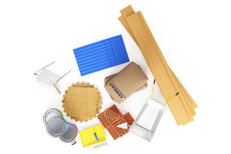 materiales de construccion: materiales de construcción aisladas sobre fondo blanco. representación 3D Foto de archivo