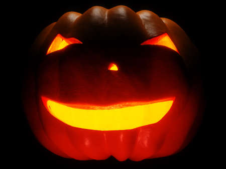 helloween: Helloween Pumpkin illuminated on black background. 3d render Stock Photo