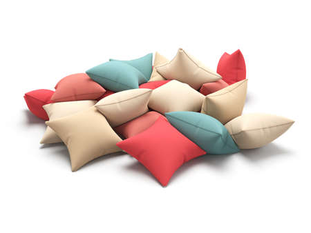 cushions: Many color cushions isolated on white background. 3d render