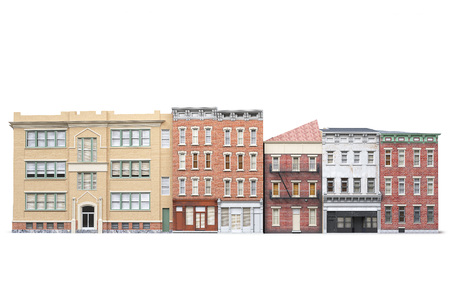Old town buildings isolted on white background. 3d irendering Stock Photo - 62614740