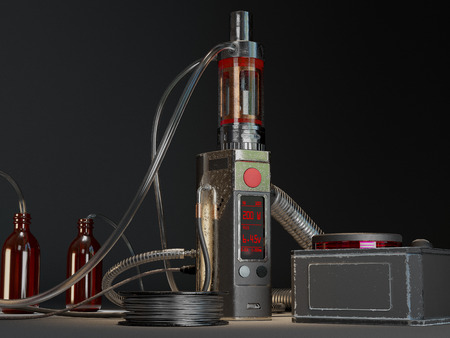Aged vaping mod and coil maker. 3d rendering 免版税图像 - 62614785
