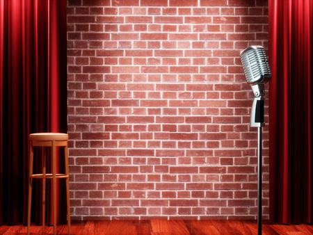 空劇場ステージで赤いカーテンに対してビンテージ金属マイク。3 D イラストレーション