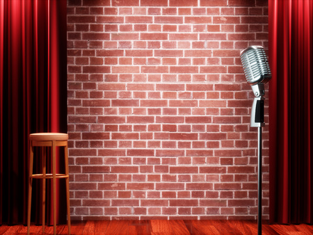 Vintage metal microphone against red curtain on empty theatre stage. 3D illustration Stockfoto