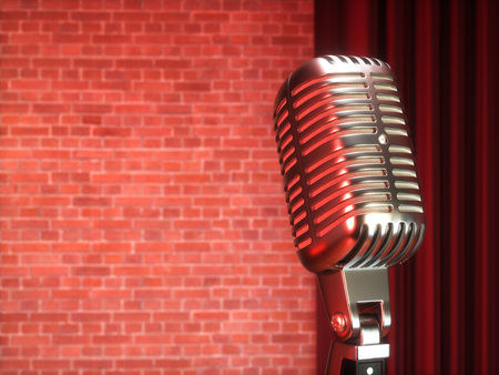 comedy: Vintage metal microphone against red curtain on empty theatre stage. 3D illustration Stock Photo