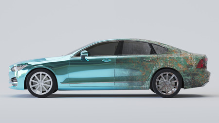 Car half aged and half wrapped in blue chrome. 3d rendering