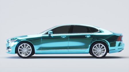 Car wrapped in blue chrome film. 3d render