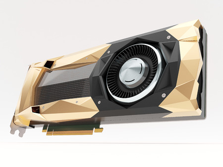 pci: Golden graphic video card. High quality 3d render