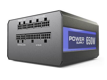 psu: computer black power supply isolated on white background. 3d illustartion