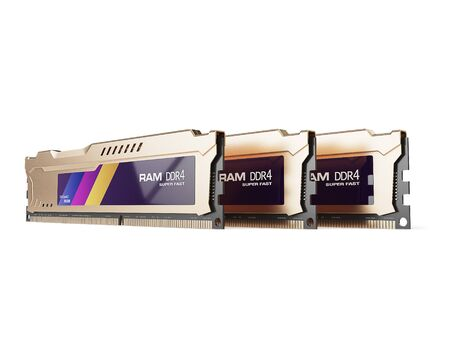 ddr: computer random access memory RAM modules isolated on the white background. 3d illustration Stock Photo